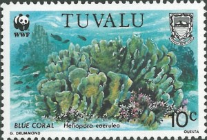 Tuvalu's stamp featuring the WWF and Coral themes.