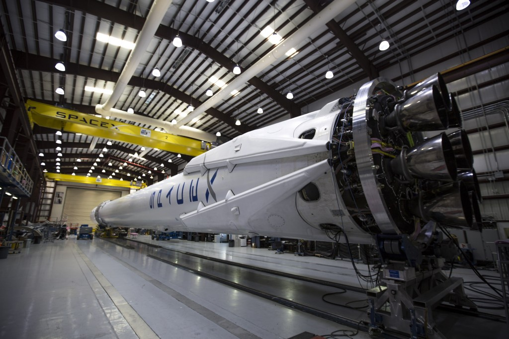 A rocket waits in the SpaceX hangar. Image from SpaceX.