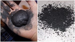 Corned gunpowder made by wet grinding. Source.