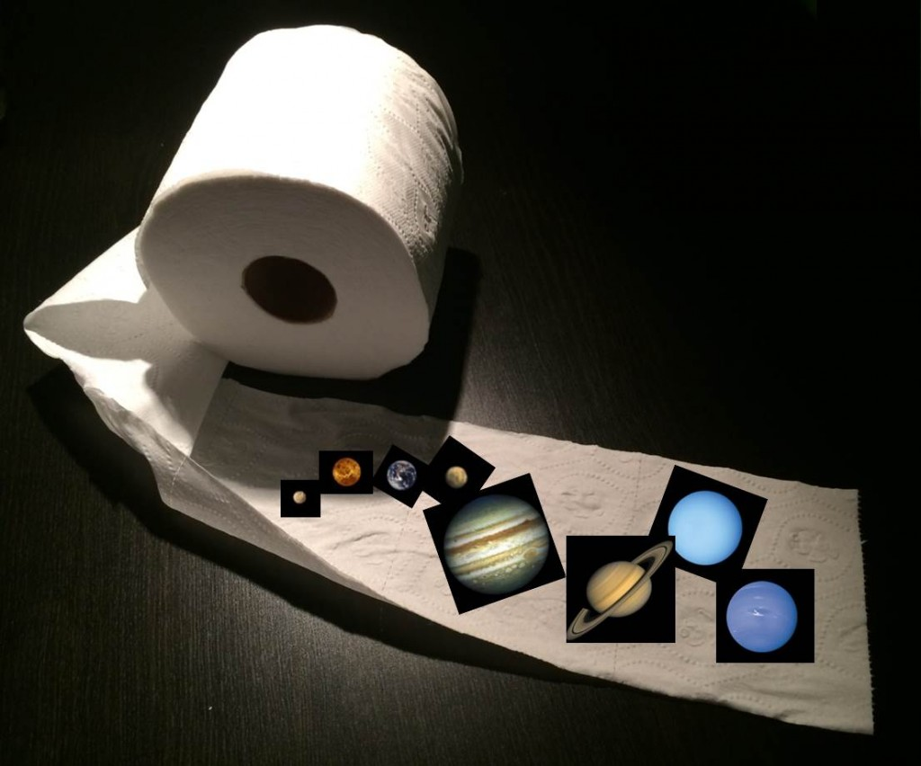 Miniature images of the planets of the solar system are arranged across a length of toilet paper.