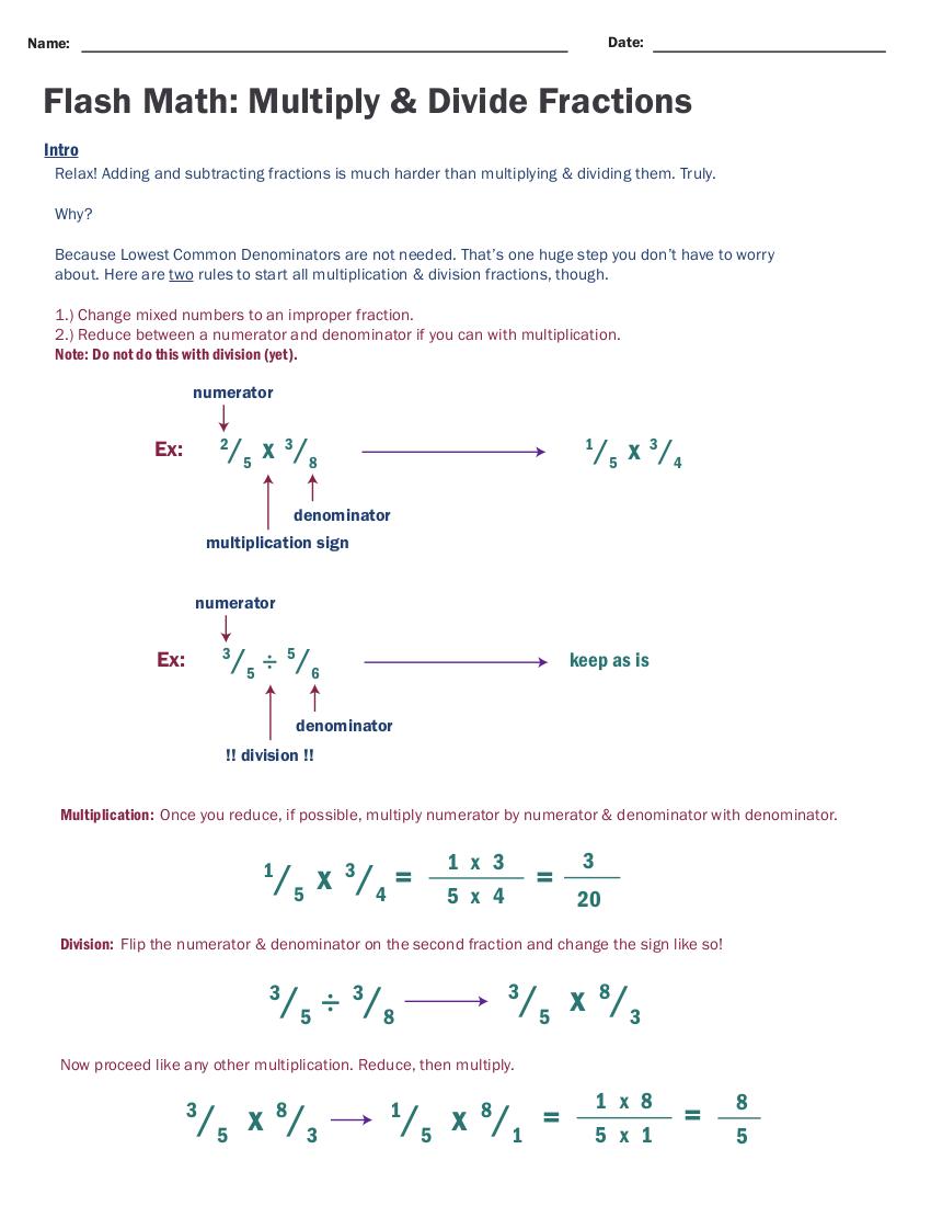 fractions 102: multiplication and division - insanitek
