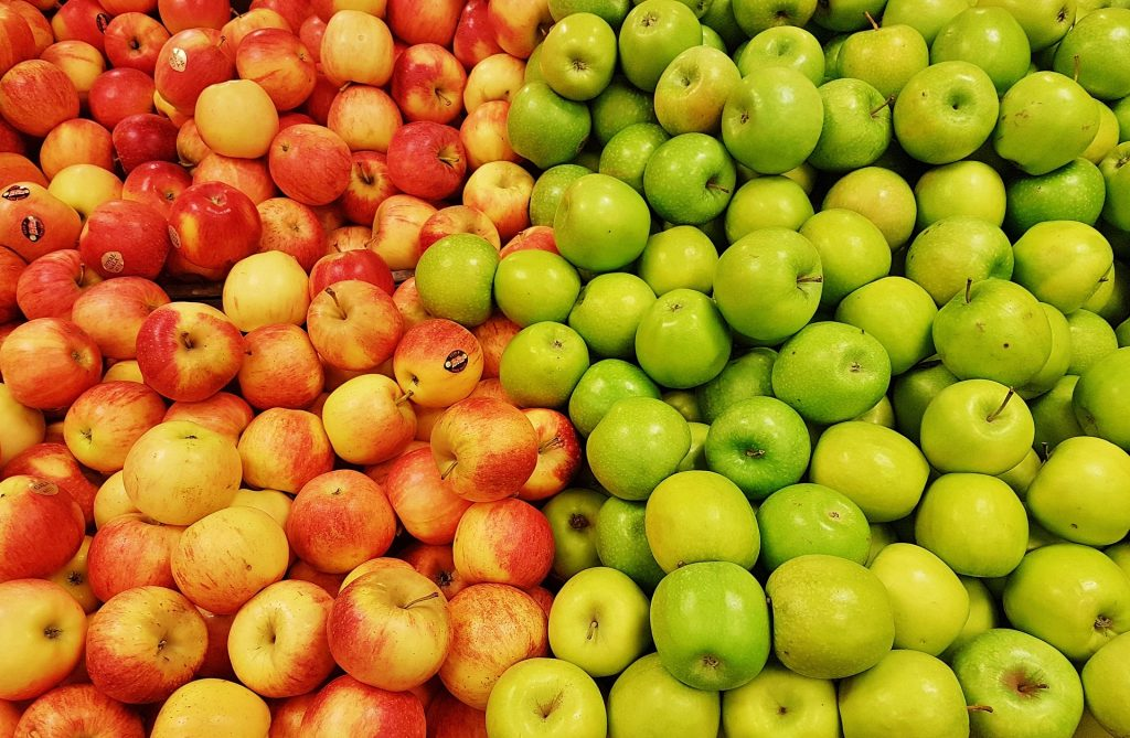 apples, fruits, vegetables, food