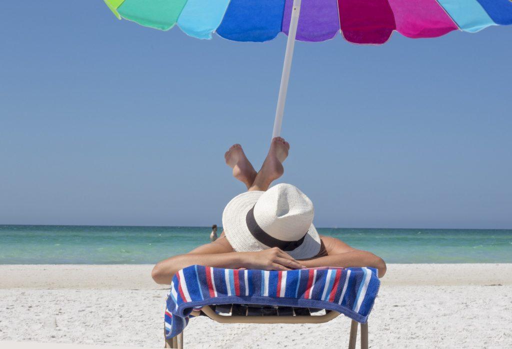 tanning, beach, sun